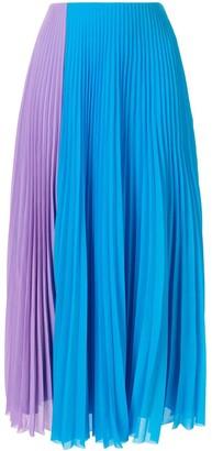 SOLACE London colour block pleated skirt