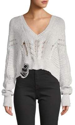 Wildfox Couture Distressed Rib-Knit Sweater
