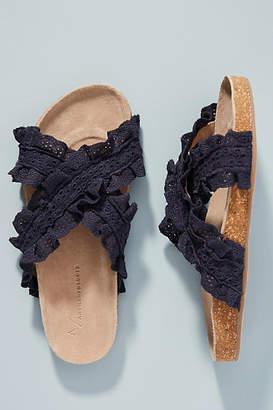 Anthropologie Bianca Ruffled Slide Sandals