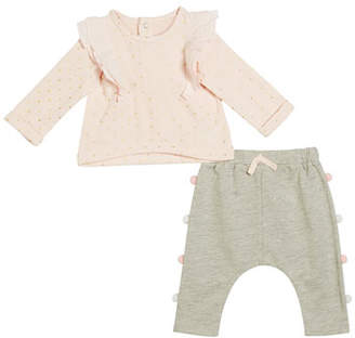 Miniclasix Ruffle-Trim Polka-Dot Top w/ Pompom Sweatpants, Size 3-24 Months