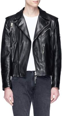 Alexander McQueen Detachable sleeve calfskin leather biker jacket