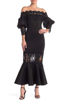 L'Atiste Lace Off-the-Shoulder 3\u002F4 Sleeve Mermaid Dress