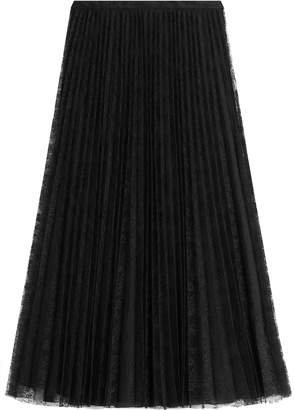 Valentino Pleated Silk Skirt with Lace