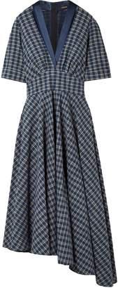 ADAM by Adam Lippes Asymmetric Gathered Checked Cotton-poplin Midi Dress