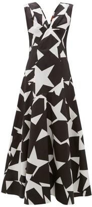 Colville - Star Print Cotton Maxi Dress - Womens - Black White
