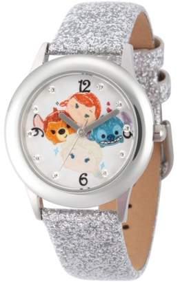 Disney Tsum Tsum Elsa, Anna, Bambi and Stitch Girls' Stainless Steel Time Teacher Watch, Silver Glitter Strap