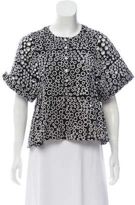 Timo Weiland Eyelet Short Sleeve Top