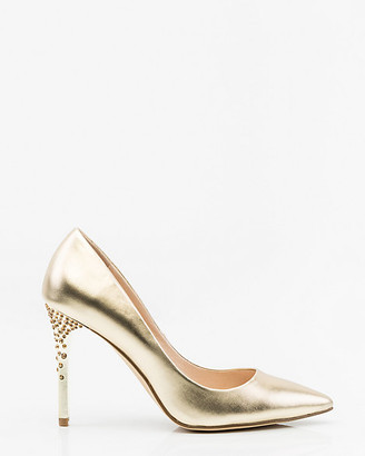Le Château Jewel Embellished Metallic Pointy Toe Pump