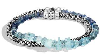 John Hardy Classic Chain Double Wrap Bracelet With Mixed Blue