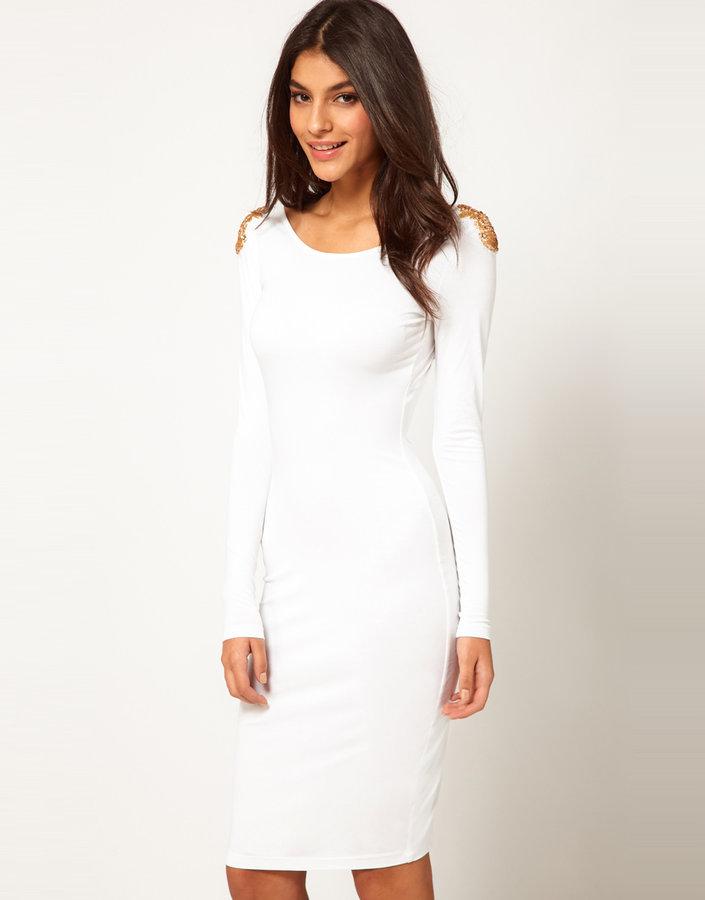 ASOS Midi Dress With Embellished Shoulder