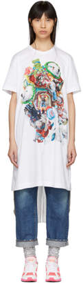 Comme des Garcons White Panelled Print T-Shirt Dress