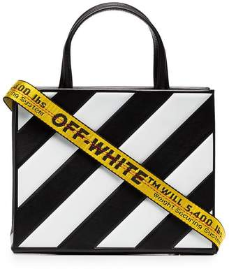 Off-White black and white diagonal striped leather tote bag