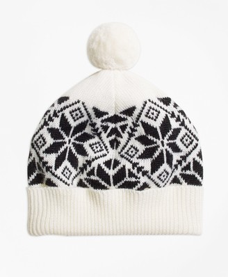 Brooks Brothers Girls Wool Blend Snowflake Fair Isle Pom Hat