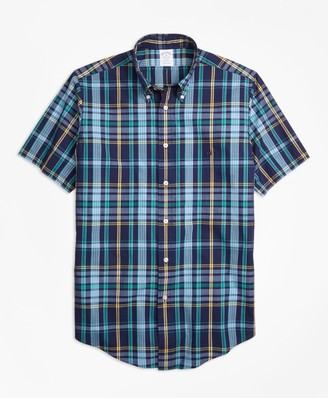 Brooks Brothers Regent Fit Slub Cotton Dark-Blue Plaid Short-Sleeve Sport Shirt