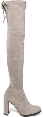 Stuart Weitzman Hiline Stretch-suede Over-the-knee Boots - Gray