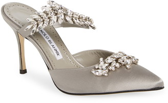 Manolo Blahnik Lurum Jewel Leaf Mule