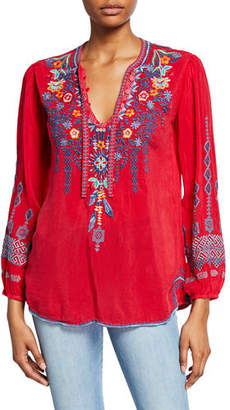 Johnny Was Chelsee Embroidered V-Neck Long-Sleeve Georgette Blouse