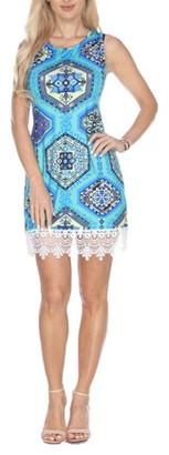 White Mark Women's Geometric Printed Crochet Trim Mini Dress