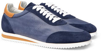 Brunello Cucinelli Leather and Suede Sneakers - Men - Navy