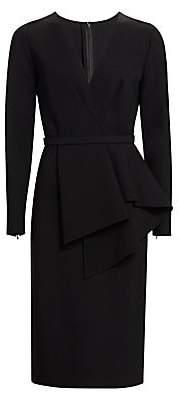 Oscar de la Renta Women's Long Sleeve Peplum Midi Dress