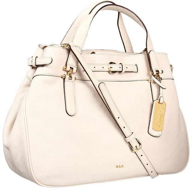Lauren Ralph Lauren Chandler Belted Satchel (Ivory) - Bags and Luggage