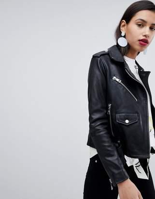 Whistles Belted Agnes Leather Biker Jacket