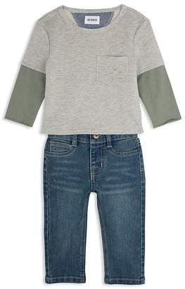 Hudson Boys' Distressed French Terry Tee & Straight-Leg Jeans Set - Little Kid