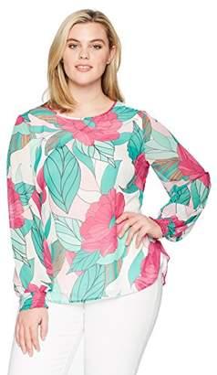 Nine West Women's Plus Long Sleeve Floral Blouse