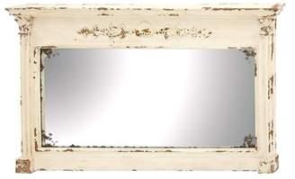 """DecMode 59"""" x 36"""" Large Rectangular Antique White Wood Vintage Wall Mirror"""