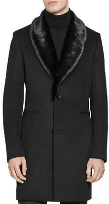 Reiss Hudson Overcoat with Faux Fur Collar
