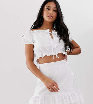 PrettyLittleThing Petite Petite co-ord broderie bardot top in white