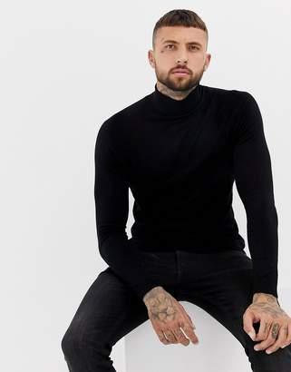 Bershka muscle fit roll neck sweater in black