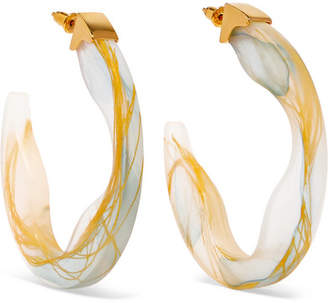 Ejing Zhang - Scilla Resin And Gold-plated Hoop Earrings - Light blue
