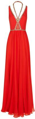 Jenny Packham Crystal Trim Chiffon Gown