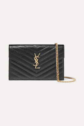Saint Laurent Monogramme Quilted Textured-leather Shoulder Bag - Black