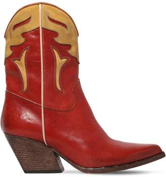 Elena Iachi 60mm Two-Tone Leather Cowboy Boots