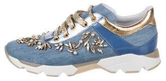 Rene Caovilla Crystal-Embellished Low-Top Sneakers