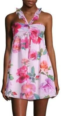6 Shore Road Floral-Print Smocked Mini Dress
