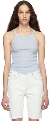 RE/DONE Blue Ribbed Tank Top