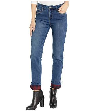 FDJ French Dressing Jeans Christina Straight Leg with Buffalo Check Cuff in Midnight