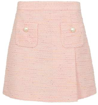Moschino Pink Button-embellished Tweed Skirt