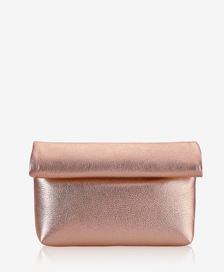 GiGi New York Lindsay Clutch, Rose Gold Metallic Goatskin Leather