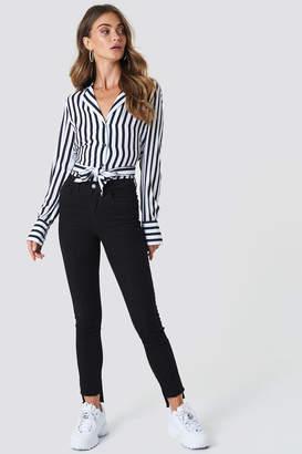 NA-KD Na Kd Highwaist Skinny Raw Hem Jeans Black