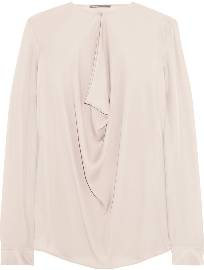 Vince Draped silk-georgette top
