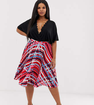 92b4c941a6dc Outrageous Fortune Plus pleated midi skirt in multi swirl print