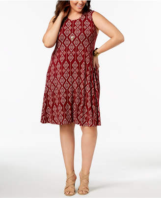 Style&Co. Style & Co Plus Size Printed Trapeze Dress, Created for Macy's