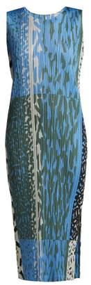 Pleats Please Issey Miyake Animal Print Pleated Dress - Womens - Blue Print