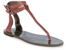 Brunello Cucinelli Ankle-Strap Pebbled Leather Thong Sandals