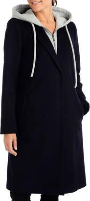 Rachel Roy Wool Walker Coat with Hooded Scuba Sweater