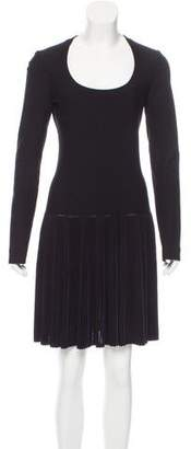 Alaia Long Sleeve Pleated Dress
